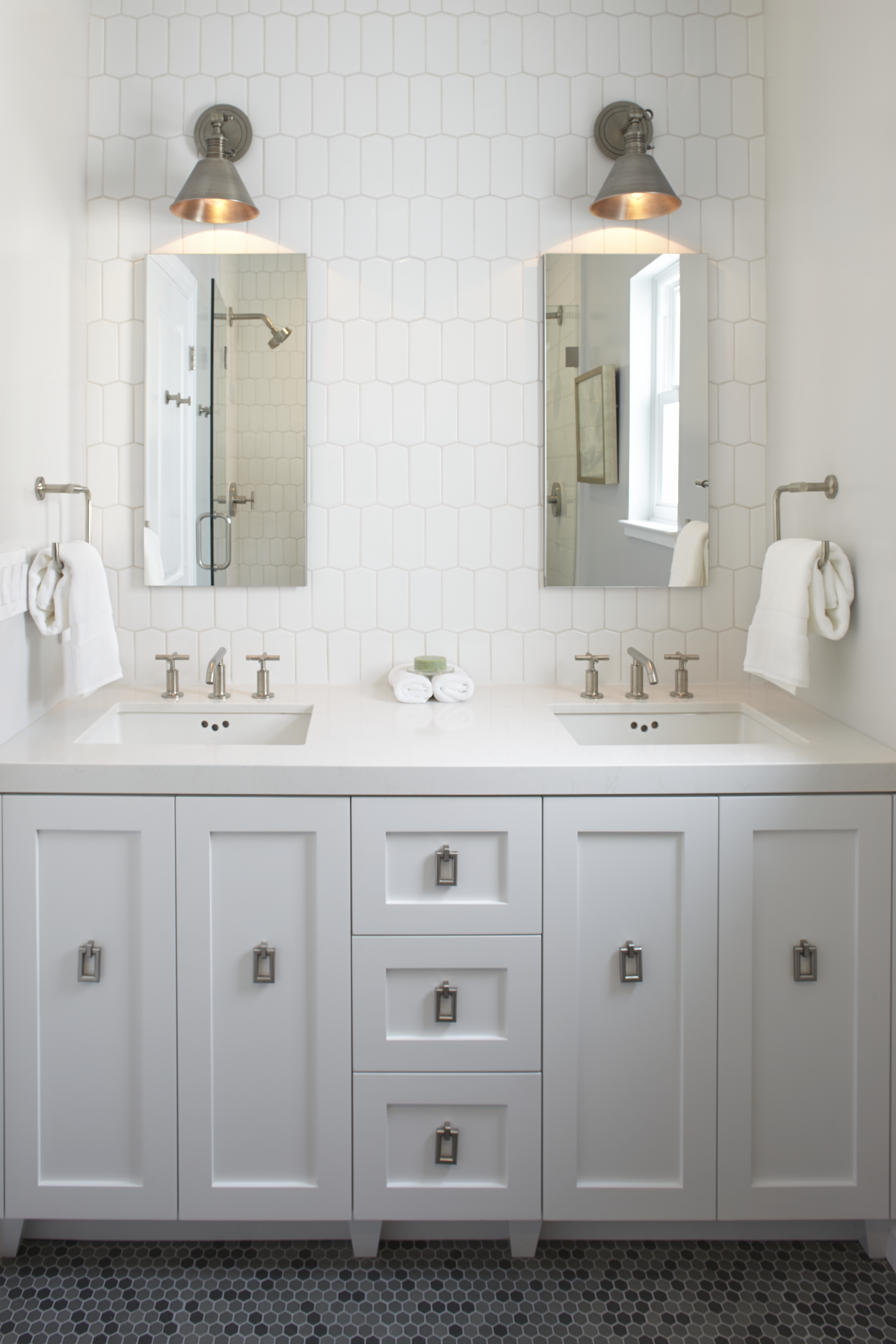 Double Vanity With Additional Storage Between The Sinks, As Well As 2  Roburn Mirrored Medicine Cabinets For Additional Storage